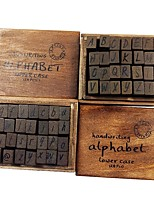 cheap -28Pcs Set Antique Wooden Alphabet Numbers Stamps Seal Uppercase Lowercase Random