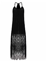 cheap -Women's Maxi Black Dress Sheath Solid Color Halter Neck S M