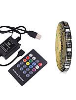 cheap -2m TV Background Light Strip Flexible LED Light Strips  RGB Strip Lights 60 LEDs SMD5050 10mm 1 24Keys Remote Controller 1 set Multi Color Waterproof / USB / Self-adhesive 5 V