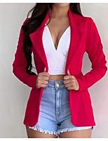 cheap -Women's Blazer, Solid Colored Notch Lapel Polyester Black / White / Yellow