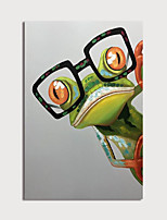 cheap -Hand Painted Canvas Oilpainting Abstract Frog with Glasses Home Decoration with Frame Painting Ready to Hang