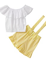 cheap -Baby Girls' Street chic Solid Colored Short Sleeve Regular Clothing Set Yellow