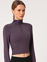 cheap -Women's Yoga Top Crop Top Zipper Cropped Solid Color Dark Grey Purple Yellow Light Grey Elastane Yoga Running Fitness Top Long Sleeve Sport Activewear Breathable Quick Dry Comfortable High Elasticity