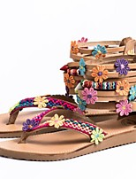 cheap -Women's Sandals Boho Flat Heel Round Toe PU Summer Brown