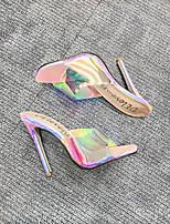 cheap -Women's Sandals Stiletto Heel Peep Toe Sequin PVC Business / Sweet Spring &  Fall / Spring & Summer Rainbow / Wedding / Party & Evening / 3D