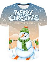 Недорогие -Дети Мальчики Классический Уличный стиль Дед Мороз Снеговик Контрастных цветов 3D Рождество С принтом С короткими рукавами Футболка Цвет радуги