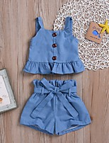 cheap -Baby Girls' Street chic Solid Colored Sleeveless Regular Clothing Set Blue