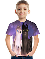 cheap -Kids Boys' Basic Street chic Color Block 3D Print Short Sleeve Tee Purple