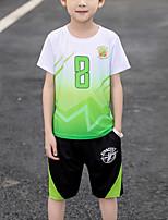 Недорогие -Дети Мальчики Активный Спортивная одежда на открытом воздухе Геометрический принт Пэчворк С принтом С короткими рукавами Обычный Обычная Набор одежды Зеленый
