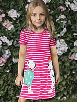 cheap -Kids Toddler Girls' Cute Street chic Striped Cartoon Print Short Sleeve Above Knee Dress Red