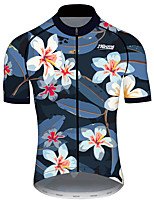 cheap -21Grams Men's Short Sleeve Cycling Jersey 100% Polyester Black / Blue Tropical Flowers Bike Jersey Top Mountain Bike MTB Road Bike Cycling UV Resistant Breathable Quick Dry Sports Clothing Apparel