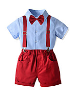 cheap -Kids Boys' Basic Street chic Birthday Party Party & Evening Solid Colored Short Sleeve Regular Regular Clothing Set Blue