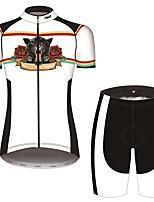 Недорогие -21Grams Жен. С короткими рукавами Велокофты и велошорты Черный / Белый Животное Лев Роуз Велоспорт Наборы одежды Дышащий 3D-панель Быстровысыхающий Ультрафиолетовая устойчивость Впитывает пот и влагу