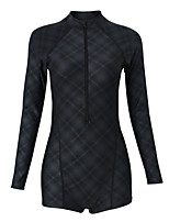 cheap -Women's Rash Guard Dive Skin Suit Bodysuit Thermal / Warm Breathable Long Sleeve Front Zip - Swimming Diving Water Sports Autumn / Fall Spring Summer