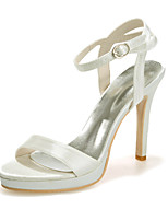 cheap -Women's Wedding Shoes Stiletto Heel Open Toe Satin Sweet Spring & Summer White / Champagne / Ivory / Party & Evening