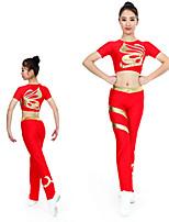 cheap -Cheerleader Costume Gymnastics Suits Women's Girls' Kids Pants / Trousers Spandex High Elasticity Handmade Short Sleeve Competition Dance Rhythmic Gymnastics Gymnastics Red