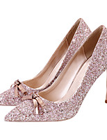 cheap -Women's Heels Crystal Sandals Stiletto Heel Pointed Toe Bowknot / Sequin Synthetics Sweet Walking Shoes Spring &  Fall / Spring & Summer Pink / Gold / Silver / Wedding / Party & Evening