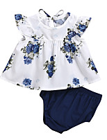 cheap -Baby Girls' Active Boho Floral Print Print Short Sleeve Regular Regular Clothing Set White