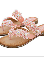 cheap -Women's Sandals Boho Flat Heel Round Toe PU Summer Almond / Red / Pink