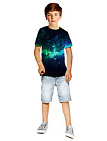 cheap -Kids Boys' Active Punk & Gothic Color Block 3D Plaid Short Sleeve Tee Black