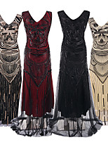 cheap -The Great Gatsby Vintage 1920s Flapper Dress Dress Party Costume Women's Sequin Costume Black / Black / Red / Black+Golden Vintage Cosplay Party Sleeveless