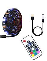cheap -4m TV Background Light Strip Flexible LED Light Strips  RGB Strip Lights 120 LEDs SMD5050 10mm 1 17Keys Remote Controller 1 set Multi Color Waterproof / USB / Self-adhesive 5 V