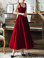 cheap -A-Line Sweetheart Neckline Ankle Length Spandex / Satin Sexy / Red Prom / Formal Evening Dress with Bow(s) 2020