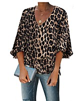 cheap -Women's Daily T-shirt - Floral / Geometric / Leopard Yellow