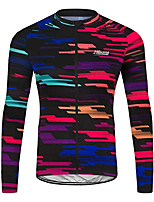 cheap -Men's Long Sleeve Cycling Jersey 100% Polyester Black / Red Stripes Bike Jersey Top Mountain Bike MTB Road Bike Cycling UV Resistant Breathable Quick Dry Sports Clothing Apparel / Stretchy / Race Fit