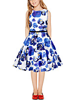 cheap -Kids Girls' Vintage Cute Floral Color Block Patchwork Print Sleeveless Above Knee Dress White