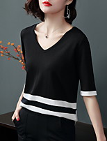 cheap -Women's Daily Blouse - Color Block / Solid Colored Black