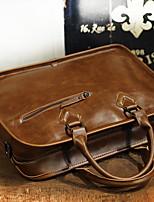 cheap -Men's Zipper PU Top Handle Bag Solid Color Dark Brown