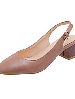 cheap -Women's Sandals Chunky Heel Square Toe PU Minimalism Fall / Spring & Summer Black / Almond / Pink