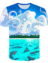 cheap -Kids Boys' Basic Street chic The Little Mermaid Color Block 3D Animal Print Short Sleeve Tee Rainbow
