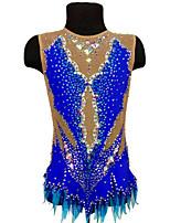 cheap -Rhythmic Gymnastics Leotards Artistic Gymnastics Leotards Women's Girls' Leotard Blue Spandex High Elasticity Breathable Handmade Jeweled Diamond Look Sleeveless Training Dance Rhythmic Gymnastics