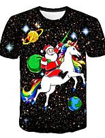 cheap -Kids Boys' Basic Street chic Horse Santa Claus Color Block 3D Rainbow Print Short Sleeve Tee Rainbow