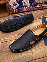 cheap -Men's Nappa Leather Spring & Summer Business / Casual Loafers & Slip-Ons Walking Shoes Breathable Black / White / Blue