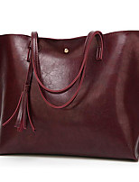 cheap -Women's Tassel Polyester / PU Top Handle Bag Solid Color Black / Brown / Wine