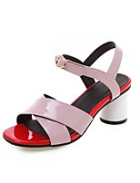 cheap -Women's Sandals Chunky Heel Open Toe Buckle Patent Leather Vintage / Casual Summer Black / White / Red / Color Block
