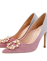 cheap -Women's Heels Crystal Sandals Stiletto Heel Pointed Toe Imitation Pearl / Sequin Synthetics Sweet Walking Shoes Spring &  Fall / Spring & Summer Pink / Gold / Gray / Wedding / Party & Evening