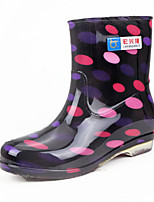 cheap -Women's Boots Flat Heel Round Toe PVC Mid-Calf Boots Spring & Summer / Fall & Winter Black / Red / Blue