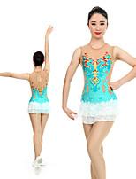 cheap -Rhythmic Gymnastics Leotards Artistic Gymnastics Leotards Women's Girls' Leotard Light Blue Spandex High Elasticity Handmade Jeweled Diamond Look Sleeveless Competition Dance Rhythmic Gymnastics
