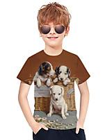 cheap -Kids Boys' Active Punk & Gothic 3D Plaid Animal Short Sleeve Tee Brown