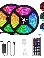 cheap -2x5M Flexible LED Light Strips / Light Sets / RGB Strip Lights 300 LEDs SMD5050 10mm 1 12V 6A Adapter / 1 44Keys Remote Controller 1 set Multi Color Waterproof / Cuttable / Party 85-265 V