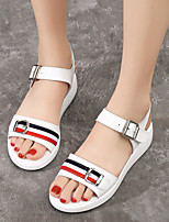 cheap -Women's Sandals Flat Heel Round Toe Leather Sporty / Casual Walking Shoes Spring & Summer Black / White