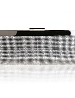 cheap -Women's Crystals / Hollow-out Alloy Evening Bag Solid Color Silver