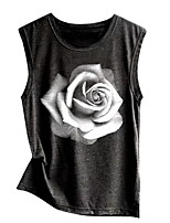 cheap -Women's Daily T-shirt - Floral Black