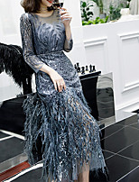 cheap -A-Line Illusion Neck Ankle Length Polyester Glittering / Grey Formal Evening / Party Wear Dress with Sequin / Appliques / Tassel 2020