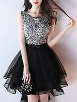 cheap -A-Line Jewel Neck Asymmetrical Polyester Sparkle / Black Cocktail Party / Party Wear Dress with Sequin 2020
