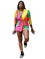 cheap -Women's Blazer, Color Block V Neck Polyester Rainbow